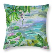 Pond In The Morning Throw Pillow