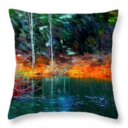 Pond In The Woods Throw Pillow