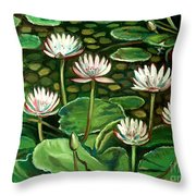 Pond Of Petals Throw Pillow