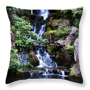 Pond Waterfall Throw Pillow
