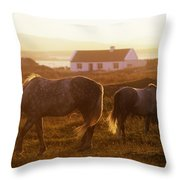 Ponies Grazing In A Field, Connemara Throw Pillow