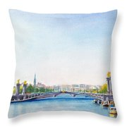 Pont Alexandre IIi Or Alexander The Third Bridge Over The River Seine In Paris France Throw Pillow