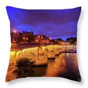 Pont Neuf At Night Throw Pillow