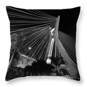 Ponte Octavio Frias De Oliveira At Night - Sao Paulo, Brazil Throw Pillow