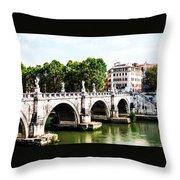 Ponte Saint' Angelo, Rome Throw Pillow