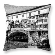 Ponte Vecchio Florence Sketch Throw Pillow