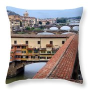 Ponte Vecchio From Uffizi                Throw Pillow
