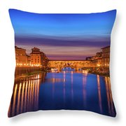 Ponte Vecchio Nigth Panorama Throw Pillow