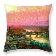 Ponte Vecchio Sunset Florence Throw Pillow