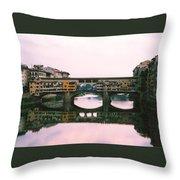 Ponte Vecchio Sunset Photograph Throw Pillow