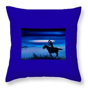 Pony Express Rider Blue Throw Pillow