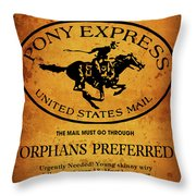 Pony Express Wanted Poster Throw Pillow