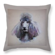 Poodle In Blue Throw Pillow