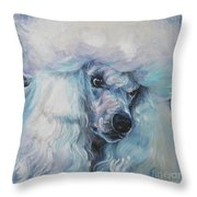 Poodle White Standard Throw Pillow