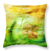 Pooh Sticks Throw Pillow by Valerie Anne Kelly