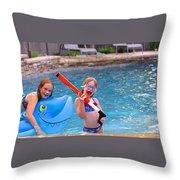Pool Party Invite Throw Pillow