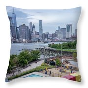 Pool With A View, Brooklyn, New York #130706 Throw Pillow
