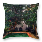 Pool With Tree Throw Pillow