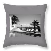 Poolside B-w Throw Pillow