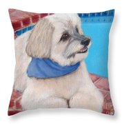 Poolside Puppy Throw Pillow