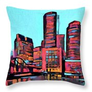 Pop Art Boston Skyline Throw Pillow