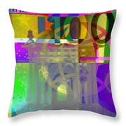 Pop-art Colorized One Hundred Euro Bill Throw Pillow