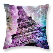 Pop Art Eiffel Tower Throw Pillow