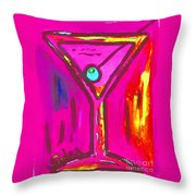 Pop Art Martini  Pink Neon Series 1989 Throw Pillow