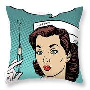 Pop Art Nurse Woman With A Needle And Speech Bubble Throw Pillow