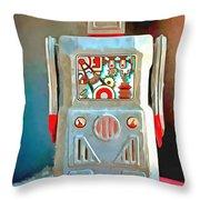 Pop Art Robot R-1 Throw Pillow