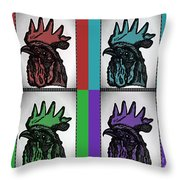 Pop Art Rooters Throw Pillow