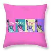 Pop Art Statue Of Liberty - New York New York - Panoramic Throw Pillow