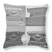 Pop Art Typewriter Collage Black And White Throw Pillow