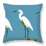 Pop Egrets Throw Pillow