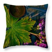 Popart With Fantasy Flowers Throw Pillow