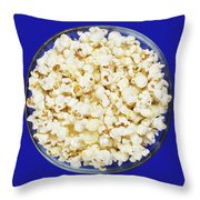 Popcorn In Glass Bowl On Blue Background Throw Pillow