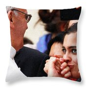 Pope Francis And Woman Painting  Throw Pillow