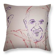 Pope Francis Waves Throw Pillow