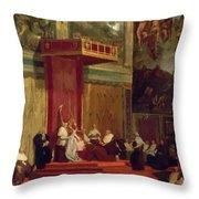 Pope Pius Vii Luigi Barnaba Chiaramonti Attending Chapel 1820 Throw Pillow
