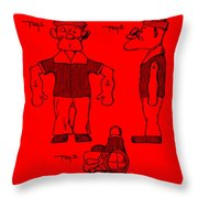 Popeye Doll Patent 1932 In Red Throw Pillow