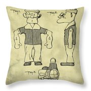 Popeye Doll Patent 1932 In Weathered Throw Pillow