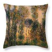 Poplars At Giverny - Sunrise Throw Pillow