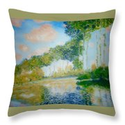 Poplars On The Epte Claude Monet Throw Pillow