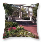 Popp Fountain Brickway Path Throw Pillow