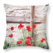 Poppies Against Wall Throw Pillow
