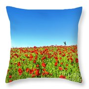 Poppies And A Photographer Throw Pillow