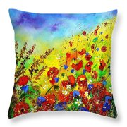Poppies And Blue Bells Throw Pillow
