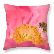 Poppies And Bumble Bee Throw Pillow