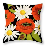 Poppies And Camomiles, Oil Painting Throw Pillow