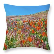 Poppies And Fiddleneck In Antelope Valley Ca Poppy Reserve Throw Pillow